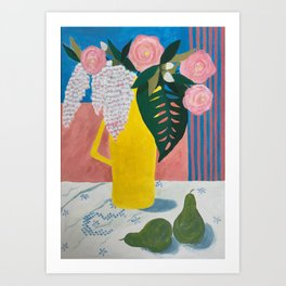 Garden Flowers in Yellow Coffee Pot Art Print