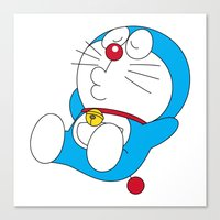 doraemon Canvas Prints featuring Doraemon relaxing style by Timeless-Id