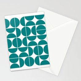 Mid Century Modern Geometric 04 Teal Stationery Cards