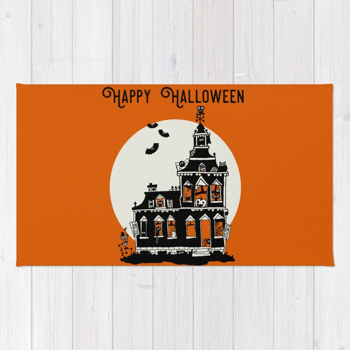 Vintage Style Haunted House - Happy Halloween Rug