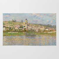 monet Area & Throw Rugs featuring Vetheuil by Claude Monet by Palazzo Art Gallery