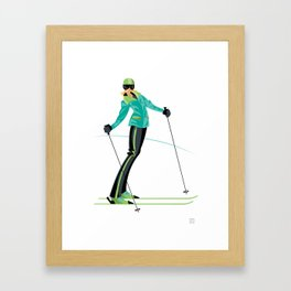 Ski Girl Lean Back Framed Art Print