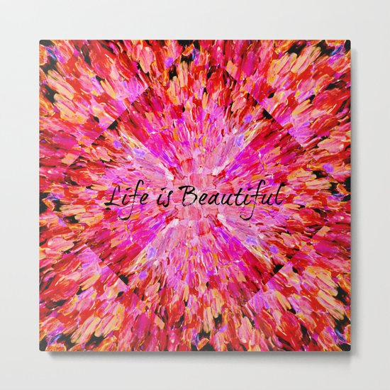 LIFE IS BEAUTIFUL Bold Pink Bird Feathers Ocean Waves Painting Sea Romantic Love Girlie Abstract Metal Print