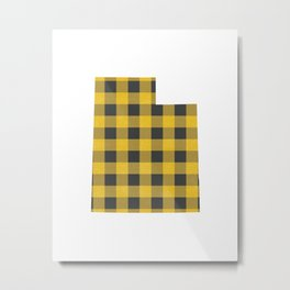 Utah Plaid in Yellow Metal Print