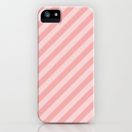 Classic Blush Pink Glossy Candy Cane Stripes iPhone Case