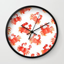 Red Crabs in Japanese watercolors Wall Clock