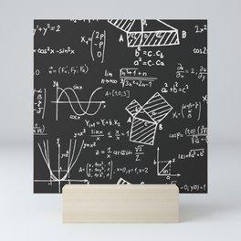 Mathematical formulas on chalkboard Mini Art Print