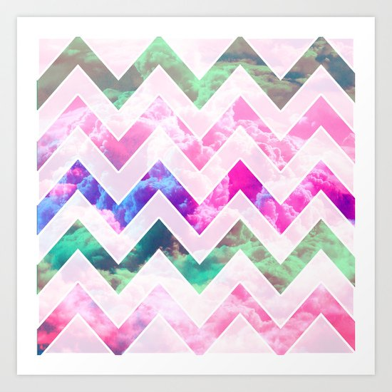 Pink Geometric Clouds Art Print