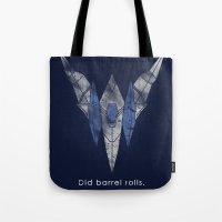 starfox Tote Bags featuring StarFox Hero by Head Glitch