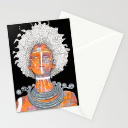 Portrait of an African Queen with white Eyes and awesome Afro Stationery Cards
