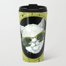 Rockstar cat on vinyl Travel Mug