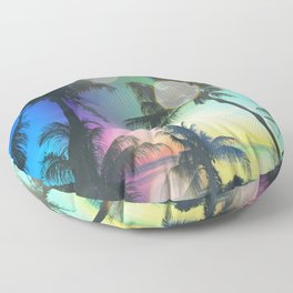 Summer Dreams : Pastel Palm Trees Floor Pillow