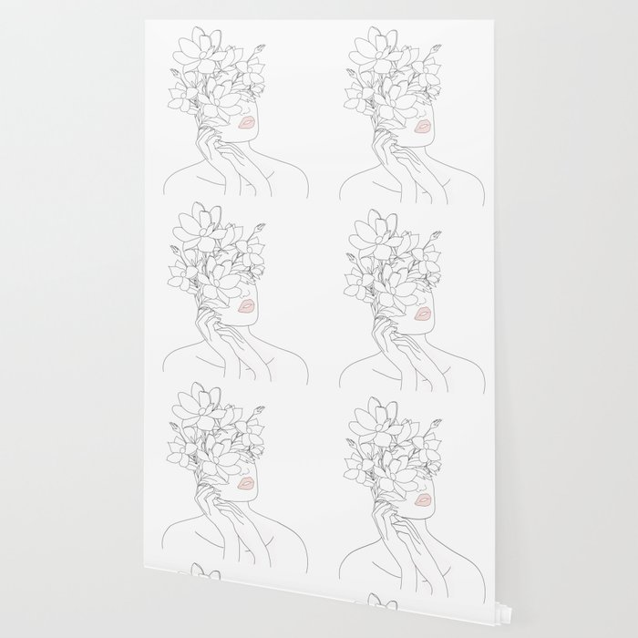 Minimal Line Art Woman with Magnolia Wallpaper