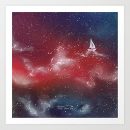 Boat in the stars Art Print