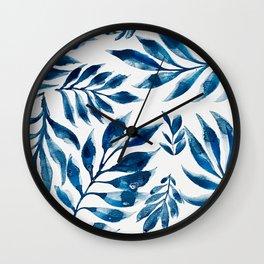 Blue Watercolor Leaves Wall Clock
