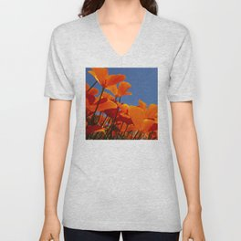 Orange Poppies in Field Reaching Up to the Sun Unisex V-Neck