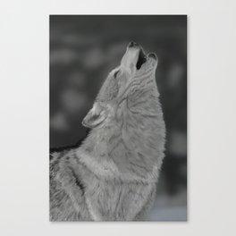 Lone Wolf Animal Digital Painting Canvas Print