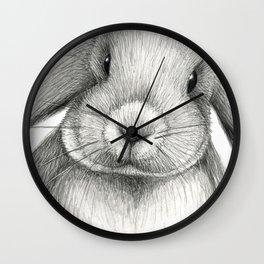 Lop eared rabbit face Wall Clock