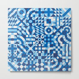 Irregular Geometric Blocks Quilt Pattern. Blue White Overlay Color Abstract Background Metal Print