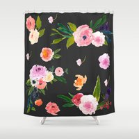 pastel goth Shower Curtains featuring Floral Goth by MY  HOME