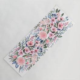 "Loose watercolor floral bouquet, ""Clara"" Yoga Mat"
