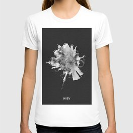 Kiev, Ukraine Black and White Skyround / Skyline Watercolor Painting (Inverted Version) T-shirt