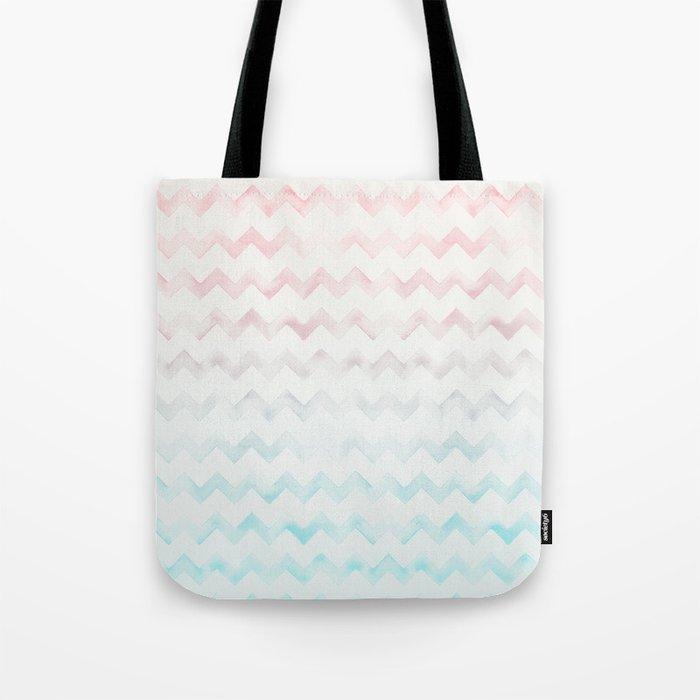 Watercolor Chevron pastel colors Tote Bag