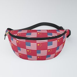 Mix of flag : usa and China Fanny Pack
