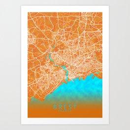 Brest, France, Gold, Blue, City, Map Art Print