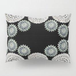 Silver and Black Mandala Circles Pillow Sham