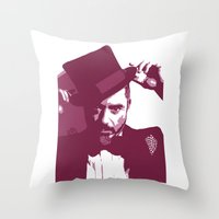robert downey jr Throw Pillows featuring Mr. Robert Downey Jr. by Arianrhod