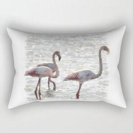 Three Flamingos Watercolor Rectangular Pillow