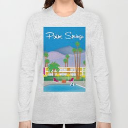 Palm Springs, California - Skyline Illustration by Loose Petals Long Sleeve T-shirt