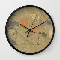 fifth element Wall Clocks featuring The Fifth Element by Itxaso Beistegui Illustrations