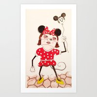 minnie Art Prints featuring Minnie  by ZarsStudio