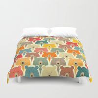 sia Duvet Covers featuring Bears cartoon pattern by Mrs. Opossum