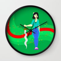 mulan Wall Clocks featuring Mulan by Eva Duplan Illustrations