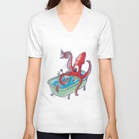 kraken V-neck T-shirts featuring kraken by Caramela
