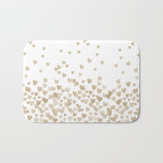 Gold Glitter Hearts - White Background for Valentines Day, Love, Bokeh, for trendy girls cell phone Bath Mat
