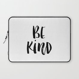 Be Kind watercolor modern black and white minimalist typography home room wall decor Laptop Sleeve