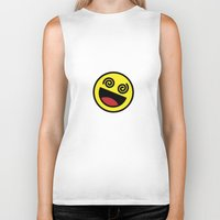 emoji Biker Tanks featuring Drunk Emoji by Birds & Kings