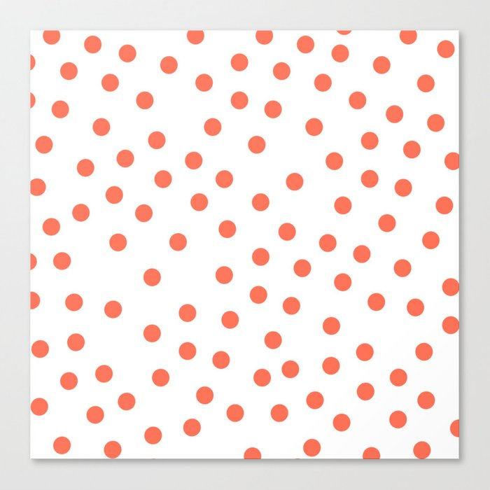 Simply Dots in Deep Coral on White Canvas Print