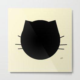 Black cat-Pastel yellow Metal Print