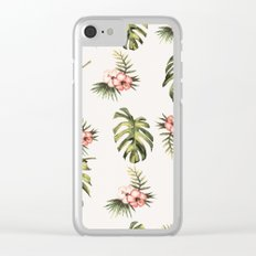Topical Flowers And Monstera Clear iPhone Case