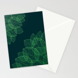 Dry Leaves - Green Stationery Cards