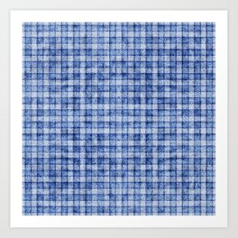 Blue Gingham Velvety Faux Terry Toweling Art Print