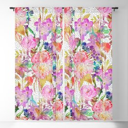 Elegant watercolor floral and dotted brush strokes Blackout Curtain