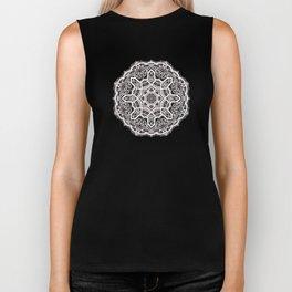 Mandala Project 209 | White Lace on Black Biker Tank