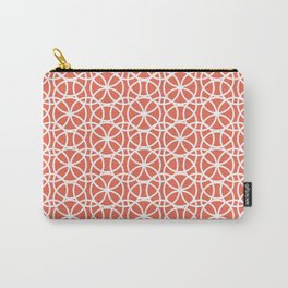 Pantone Living Coral and White Rings Circle Heaven, Overlapping Ring Design Carry-All Pouch