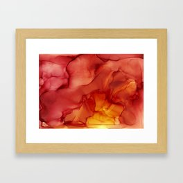 Red Sunset Abstract Ink Painting Red Orange Yellow Flame Framed Art Print